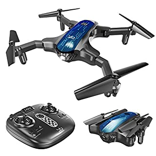 ScharkSpark Mini Drone, Portable RC Quadcopter for Kids & Beginners with Foldable Arms for Indoor/Outdoor Play, 2.4Ghz 6-Axis Gyro One-Key Return/Headless Mode/Altitude Hold/3D Flips (No Camera)