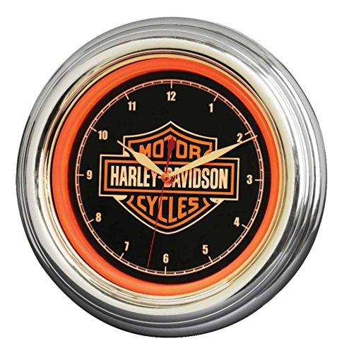 Harley Bar - Harley-Davidson Bar & Shield LED Clock, Long Lasting Bright Orange, HDL-16633