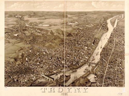 Map Poster - Troy N.Y. 1881