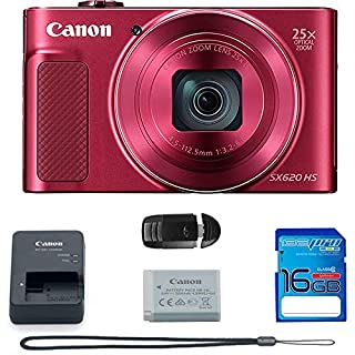 Canon PowerShot SX620 HS Digital Camera (RED) + Basic Accessories Bundle.