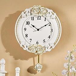 Wall Clocks European Watch Creative Clock Swing Fashion Watch Retro Mute Quartz Clock Clock Room,A