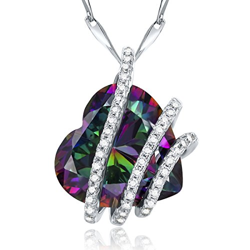 Jrose Sterling Silver Simulated Mystic Topaz Heart Pendant Necklace for (Mystic Fire Topaz Necklace)