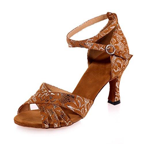 Baile L Multicolor Con Brillantes Zapatos Mujer Ante Cubana yc Lentejuelas Brown De Sintética qqnBSUtWp