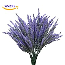 YSBER 5pcs/10 pcs Artificial Flocked Lavender Bouquet Fake Flowers Bunch Bridal Home DIY Floor Garden Office Wedding Decor-Purple (5PCS)