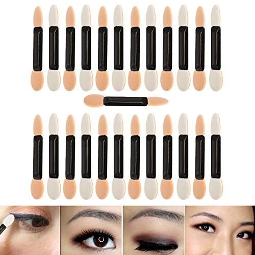 - Professional Make Up Artists Set With 25pcs Disposable Double Ended Eyeshadows Applicators / Smudge Sponges Brushes / Eyes Makeup Tools By VAGA