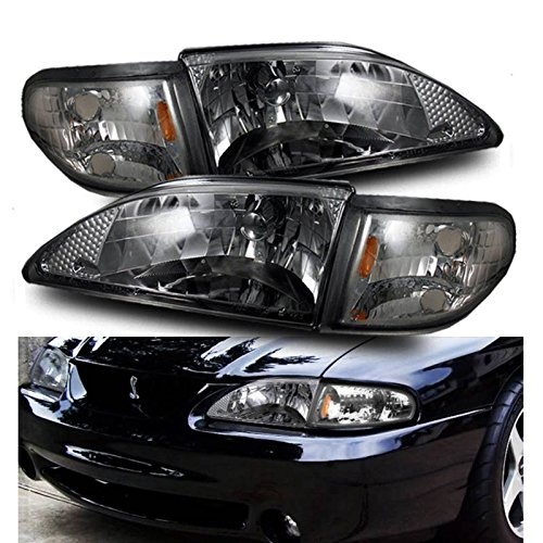 SPPC Smoke Crystal Headlights Assembly Set with Corner Light For Ford Mustang - (Pair) Driver Left and Passenger Right Side Replacement ()