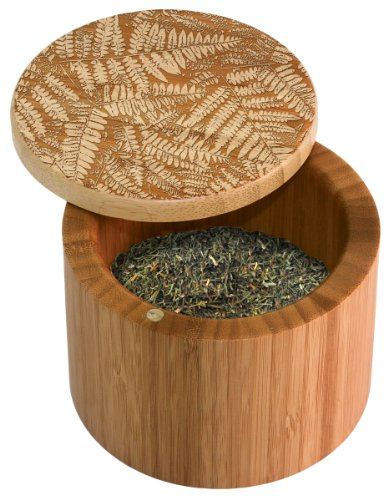 Totally Bamboo Salt Box, Ferns, Etched 100% Bamboo Container With Magnetic Lid For Secure Strong Storage for Spices, Herbs, Seasoning & More