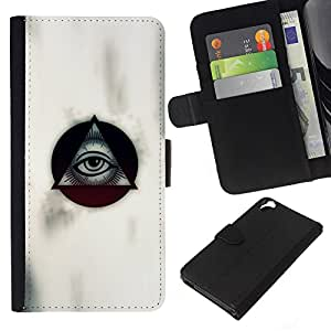 KLONGSHOP // Tirón de la caja Cartera de cuero con ranuras para tarjetas - Albañilería masones Simbolismo pirámide del ojo - HTC Desire 820 //