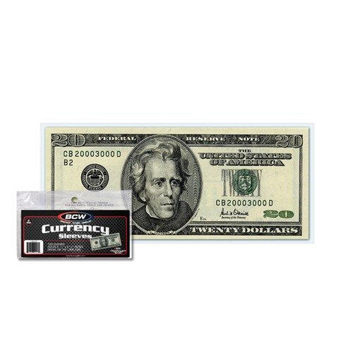 (100) US Currency Paper Money Bill Protector Sleeves for Regular Bills