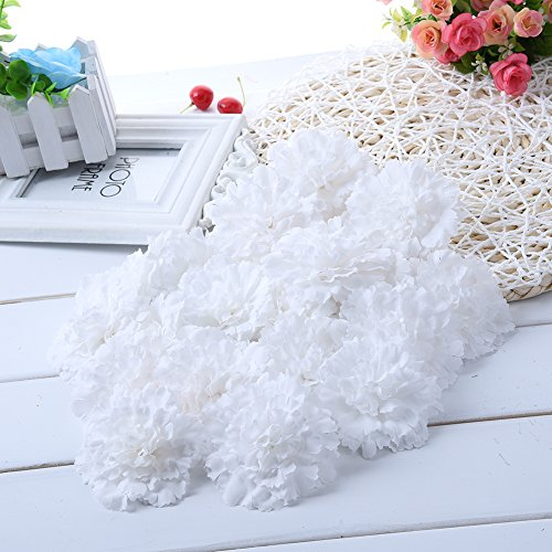 - Sundlight 20 x Silk Cloth Carnation Flower Head Simulation Artificial Flowers for Wedding Party Home Decoration-White