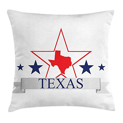 WCMBY Texas Star Throw Pillow Cushion Cover, San Antonio Dallas Houston Austin Map with Stars Pattern USA, Decorative Square Accent Pillow Case, 18 X 18 inches, Navy Blue Vermilion Pale Grey
