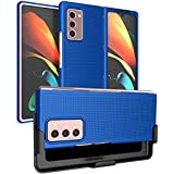 Case with Clip for Galaxy Z Fold 2, Nakedcellphone [Cobalt Blue] Grid Texture Slim Hard Cover and Custom Belt Hip Holster Holder View Stand Combo for Samsung Galaxy Z Fold 2 5G Phone (SM-F916) (Color: Blue)