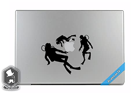 Macbook tv commercial scuba divers diving around apple overlay vinyl decal sticker skin mac book air
