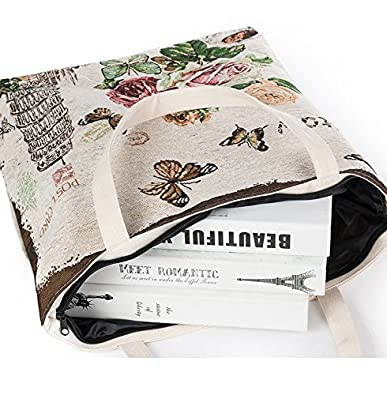 Good Quality Beautiful Flowers Tower Cotton Canvas Tote Bag Ecofriendly Handmade Geocery Shopping Foldaway Bags
