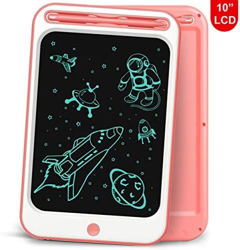 Richgv LCD-Schreibtablett, 10-Zoll-Smart-Black-Board-Lernspielzeug Elektronisches Zeichenbrett Handschrift und Doodle-Pad für Kinder und Erwachsene(Rosa-A,10 Zoll)