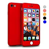 VANSIN iPhone 7 Case, 360 Full Body Protection Hard Slim Case Coated Non Slip Matte Surface with Tempered Glass Screen Protector for Apple iPhone 7 Only (4.7-inch) - Red