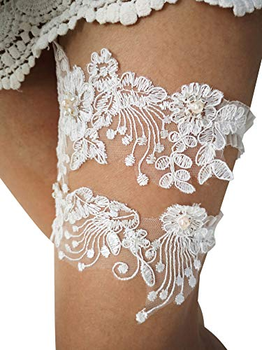 (YuRong Wedding Bridal Flower Design Garter Set Lace Pearls Garter Belt for Brides G45 (Ivory) )