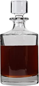 Lily's Home Glass Decanter for Whiskey, Bourbon, Brandy, Wine or Any Other Liquor or Beverage. With a Glass Stopper. Round, Stylish and Functional Piece (26 Ounces)