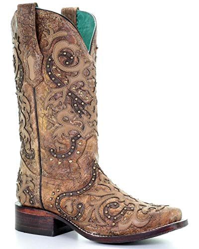 (CORRAL Women's Overlay Western Boot Square Toe Brown 8.5 M)