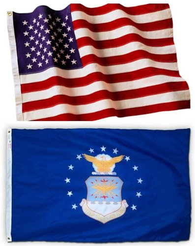 SJ Flags U.S. Embroidered American Flag & Printed Air Force Official Military Banner Both 3×5 Ft. All Weather 200 Denier #1 Quality Nylon by Licensed Manufacturer 100% Made in USA … For Sale