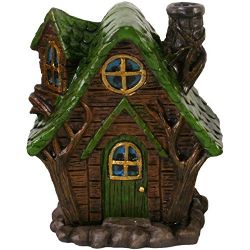 Fairy House Smoking Chimney Incense Burners Woody Lodge Green Spir