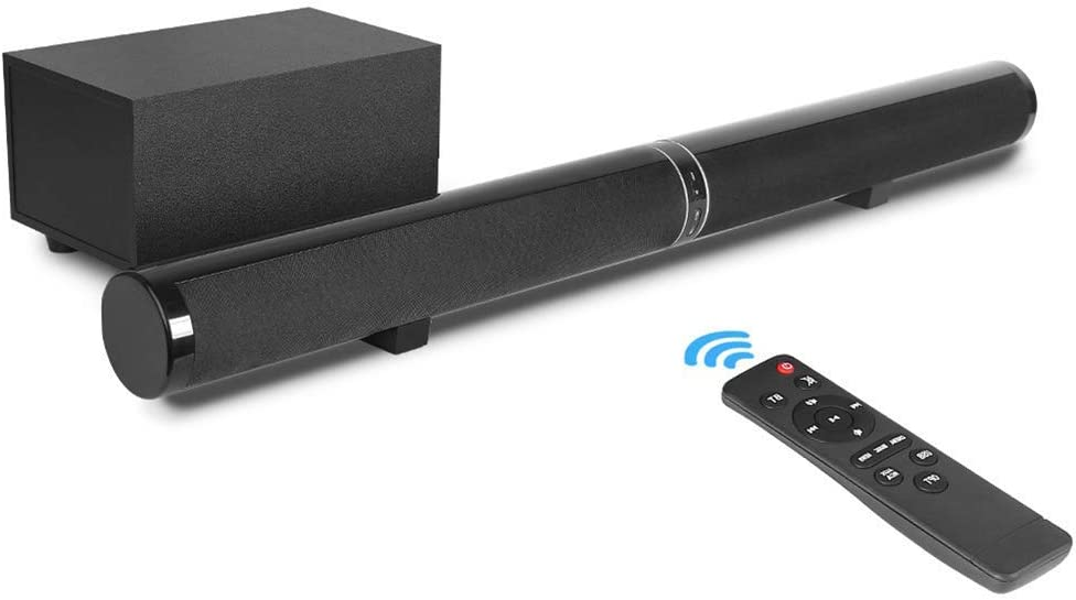 TYI -120Db Surround Sound System Sound Bar, 150W Sound TV Bar, Deep Bass, 2.1 Wireless Subwoofer, Wall Mountable/Standing Position, Optical Input, RCA Cable Included