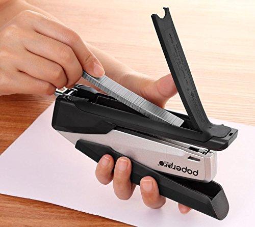 PaperPro inPOWER+28 Executive Stapler - 3 in 1 Stapler - One Finger, No Effort, Spring Powered Stapler, Black/Silver (1110)