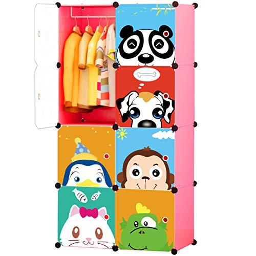 KOUSI Portable Kids Wardrobe Closet Children Dresser Hanging Storage Rack Clothes Closet Bedroom Armoire Cube Organizer Formaldehyde-Free Furniture (Pink, 6 Cubes&1 Hanging Section)