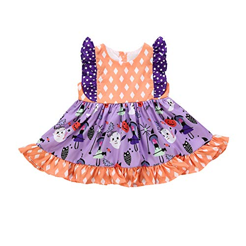 BELS Baby Girls Halloween Pumpkin Dots Printed Cartoon Princess Ruffle Sleeveless Dress (Purple, 4-5Y) ()