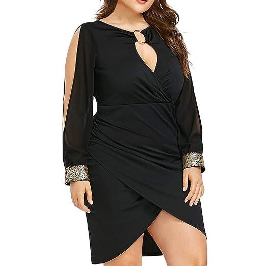 3b9dcf3c31 Women Fashion Long Sleeve Sequin Plus Size Keyhole Neck Ring Slit Bodycon  Dress