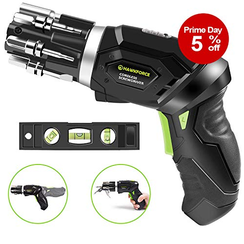 Hawkforce 3.6 Volt Rechargeable Cordless Electric Screwdriver Set 2 Adjustable Position Handle, 2 Phillips, 2 Flathead, 2 Hex Bits and Front LED Light with Bubble Level Fit for Newbies& -