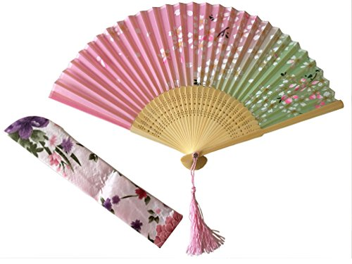 DaShu 8.27(21cm) Hand Held Folding Fans with First-Class Bamboo Spins and Traditonal Silk Fabrics Chinese/Japanese Vintage Retro Style for Gift (Pink)