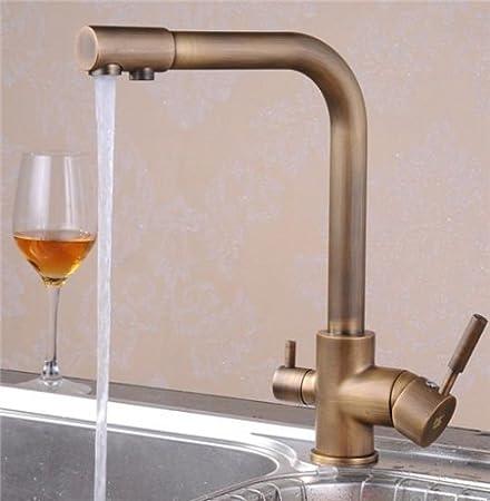 Greeningspring Antique Brass 3-way 2-handles Kitchen Faucet Pure ...
