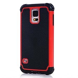 JBG (S5 Mini) Red Slim Hexagon Hard PC + Shock Absorbing Silicone Hybrid Case for Samsung Galaxy S5 Mini(SM-G800)