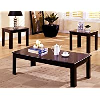 1PerfectChoice 3 pc Simple Stylish Town Occasional Coffee Side End Table Set Wood in Espresso