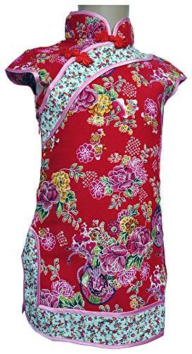 (Amazing Grace Elephant Co. Girls' Chinese Costume Cheongsam Qipao Mini Dress (Floral Red,)