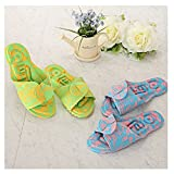 [1 + 1] EVA Acupuncture House Slippers Pink+Yellow for Men and Women, EVA material, Made in Korea