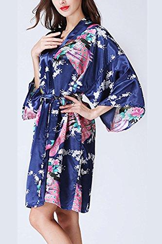 Donna Di Kimono E Elegante Accappatoi Floreali 4 Pigiama 3 Darkblue Vestaglia Manica rYArFn07