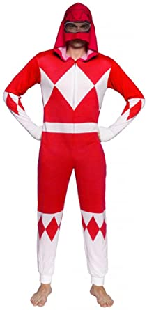 Power Rangers Red Ranger Adult One Piece Pajama Union Suit