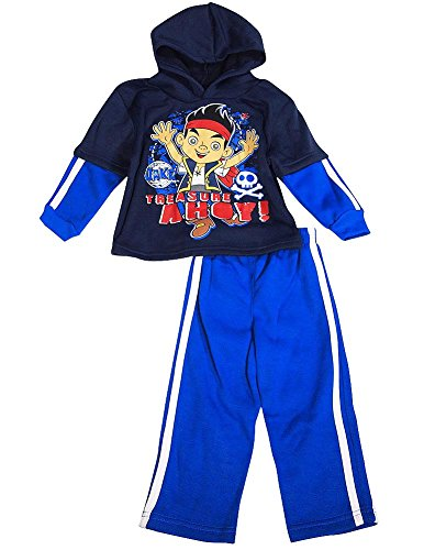 Disney - Little Boys' Long Sleeve Jake Neverland Pirates Jog Suit Set, Navy, Royal (Jake And The Neverland Pirates Outfit)