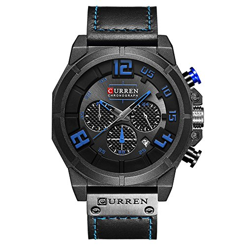 CURREN Men Watch Chronograph Quartz watches Multifunctional Military Sport Wristwatch Waterproof Leather Strap with Date Display 8287 (black-blue) - Strap Date Display