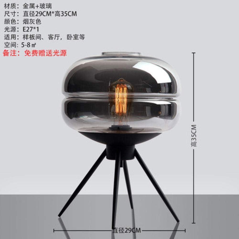 HGWZLQ Lámpara Escritorio Para Estudio Cristal Dormitorio Elegante Salón Lámpara De Mesa-Gris Humo Lámpara Escritorio
