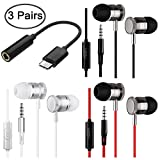 3 Packs Earbud Headphones with Remote & Microphone, DaKuan In Ear Earphone Stereo Sound Tangle Free for Smartphones, Laptops, Gaming, Fits All 3.5mm Interface Device Bonus with Type-C Adapter