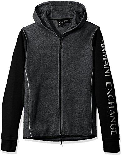 (A|X Armani Exchange Men's Heathered Long Sleeve Logo'd Hoodie, Black Solid, M)