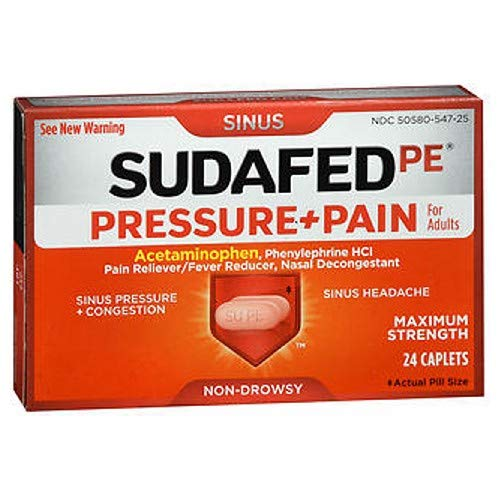 SUDAFED PE Pressure + Pain Maximum Strength Caplets for Adults 24 ea (Pack of 4)