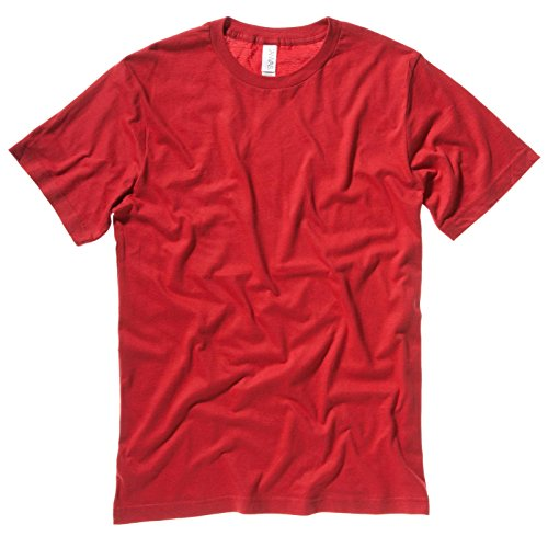 Unisex Bella Canvas Slim Jersey Spannbettlaken Seitennaht Rundhalsausschnitt T-shirts Rot Größe S