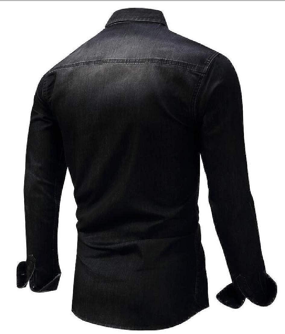 UNINUKOO Unko Mens Shirt Long Sleeve Button Down Casual Denim Shirts Top