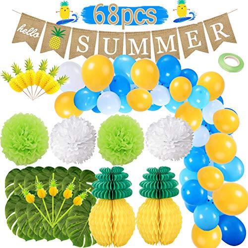 Funnlot Hawaiian Party Decorations 68PCS Pineapple Party Decorations and Supplies Including Hello Summer Banner Tissue Pineapple Tropical Palm Leaves for Aloha Party Decorations Hawaii Party Supplies