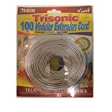 25 White Trisonic Trisonic25ftcbla Telephone Extension Cord Phone Cable Foot
