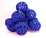 Christmas Gifts : Small Blue Rattan Ball, Wicker Balls, DIY Vase And Bowl Filler Ornament, Decorative spheres balls, Perfect For Decoration And Party 2.5 inch, 12 Pcs (Free Gift From Conserve Brand)